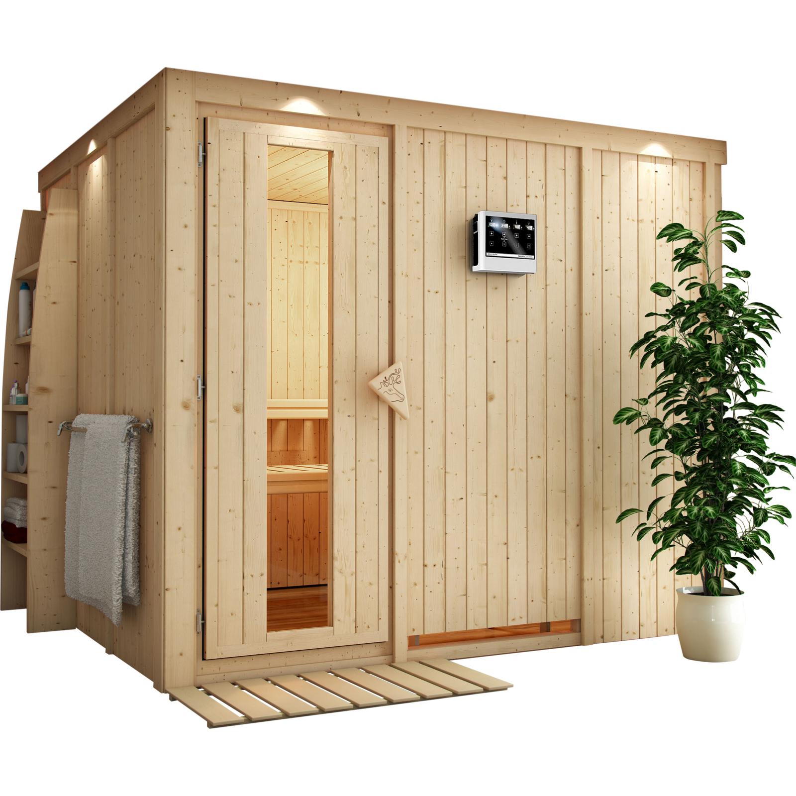 karibu sauna gobin 2 31 x 1 96 m 68 mm mit 9 kw ofen saunakabine elementsauna ebay. Black Bedroom Furniture Sets. Home Design Ideas