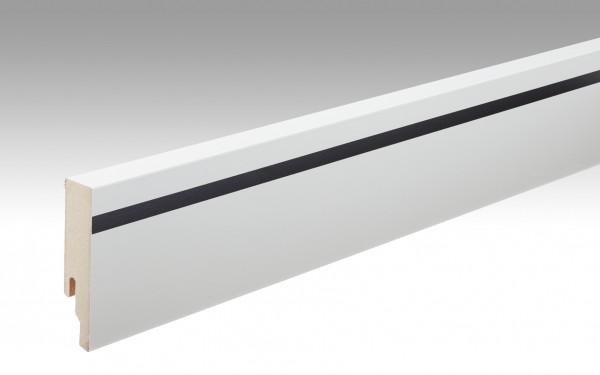 Fußleiste Profil 9 PK für alle Böden Weiß mit Intarsienstreifen schwarz DF 2401