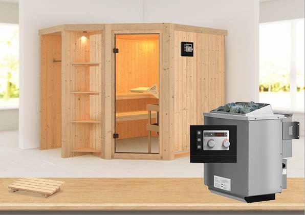 Sauna YARO 2,39 x 1,96 m 68 mm mit 9 kW Ofen 9.0 kW Bio-Kombiofen ext. Steuerung