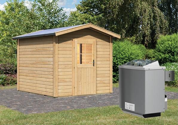 Gartensauna BOSSE mit Vorraum 2,31 x 3,11 m 38 mm mit 9 kW Ofen 9.0 kW Ofen integr. Steuerung