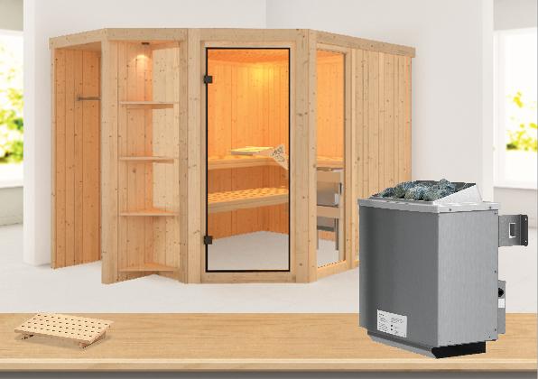 Sauna BRIA 2,74 x 1,96 m 68 mm mit 9 kW Ofen 9.0 kW Ofen integr. Steuerung