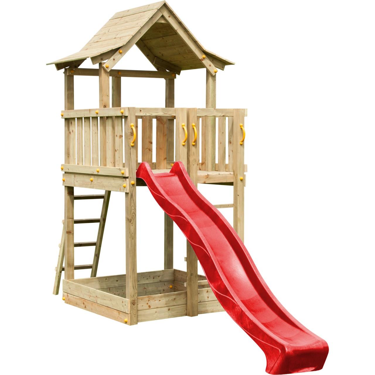 Blue Rabbit  Spielturm PAGODA mit Rutsche  1,20 m Rot DH732
