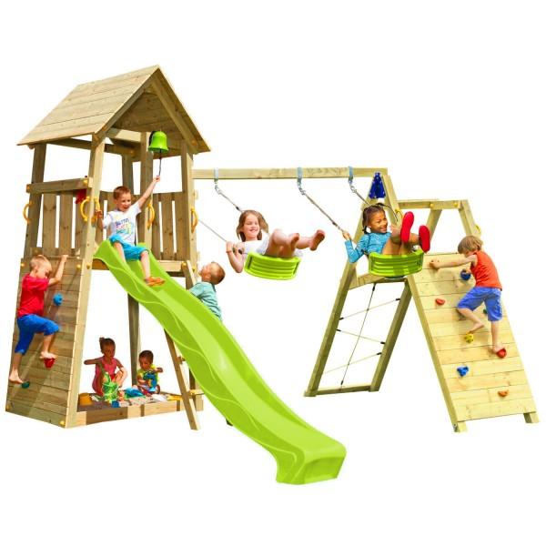 Spielturm BELVEDERE mit Rutsche + Kletterwand + Doppelschaukel
