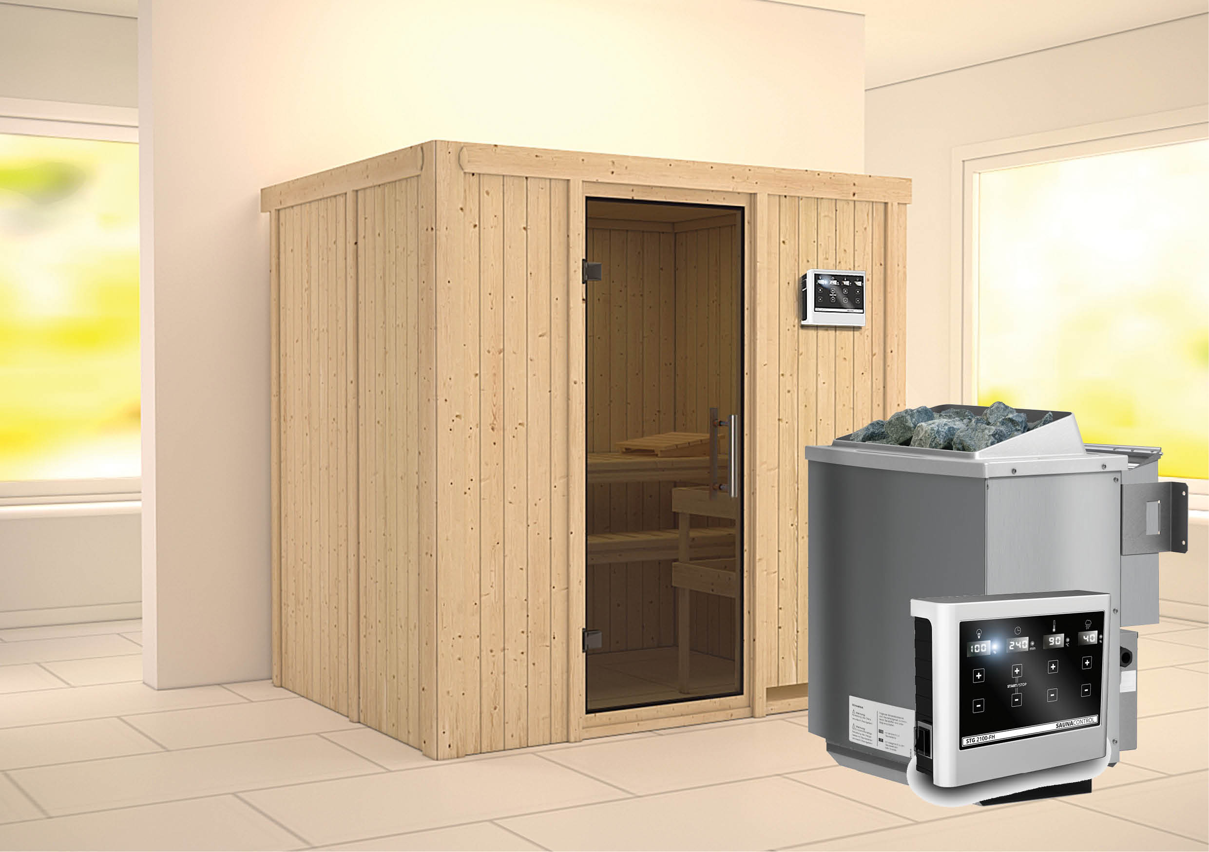 karibu sauna bodin 1 96 x 1 51 m 68 mm mit 9 kw ofen saunakabine elementsauna ebay. Black Bedroom Furniture Sets. Home Design Ideas