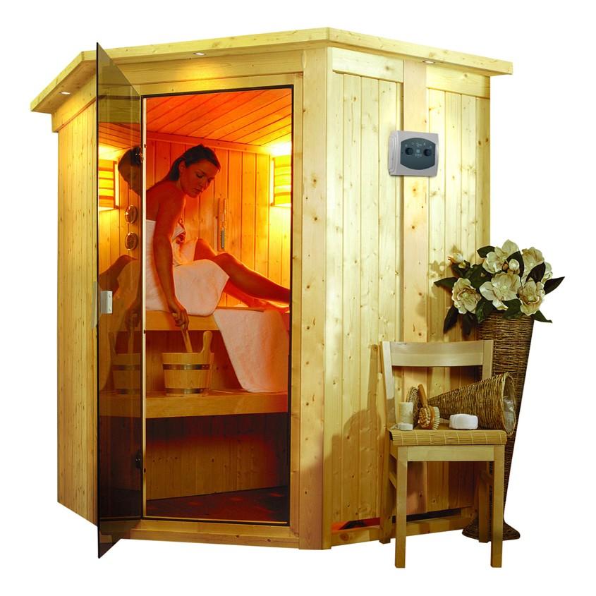 Sauna NANJA 1,51 x 1,51 m - ohne Ofen ohne Dachkranz