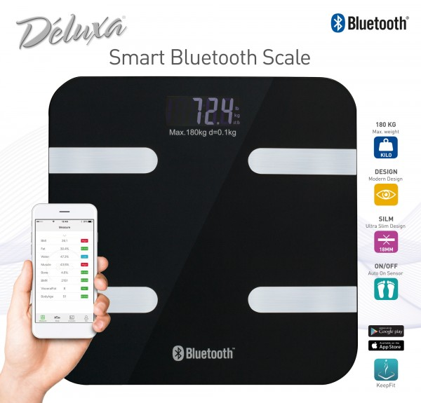 Körperfettwaage digital mit Bluetooth iOS App schwarz