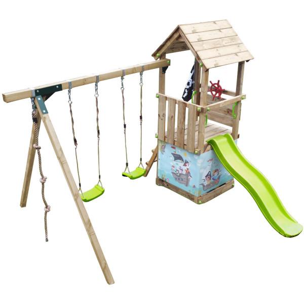Spielturm LITTLE KIOSK mit Rutsche Doppelschaukel Kletterseil