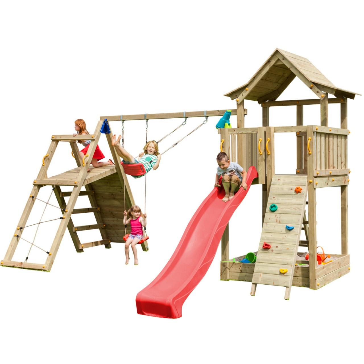 Blue Rabbit  Spielturm PAGODA mit Rutsche 2,90 m + Kletterwand + Doppelschaukel  Rot DH454