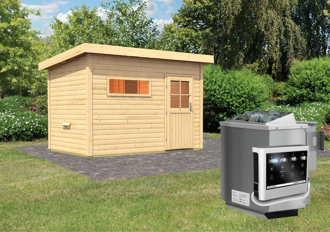 Gartensauna SKROLLAN 2 3,37 x 2,31 m 38 mm mit 9 kW Ofen 9.0 kW Bio-Kombiofen ext. Steuerung