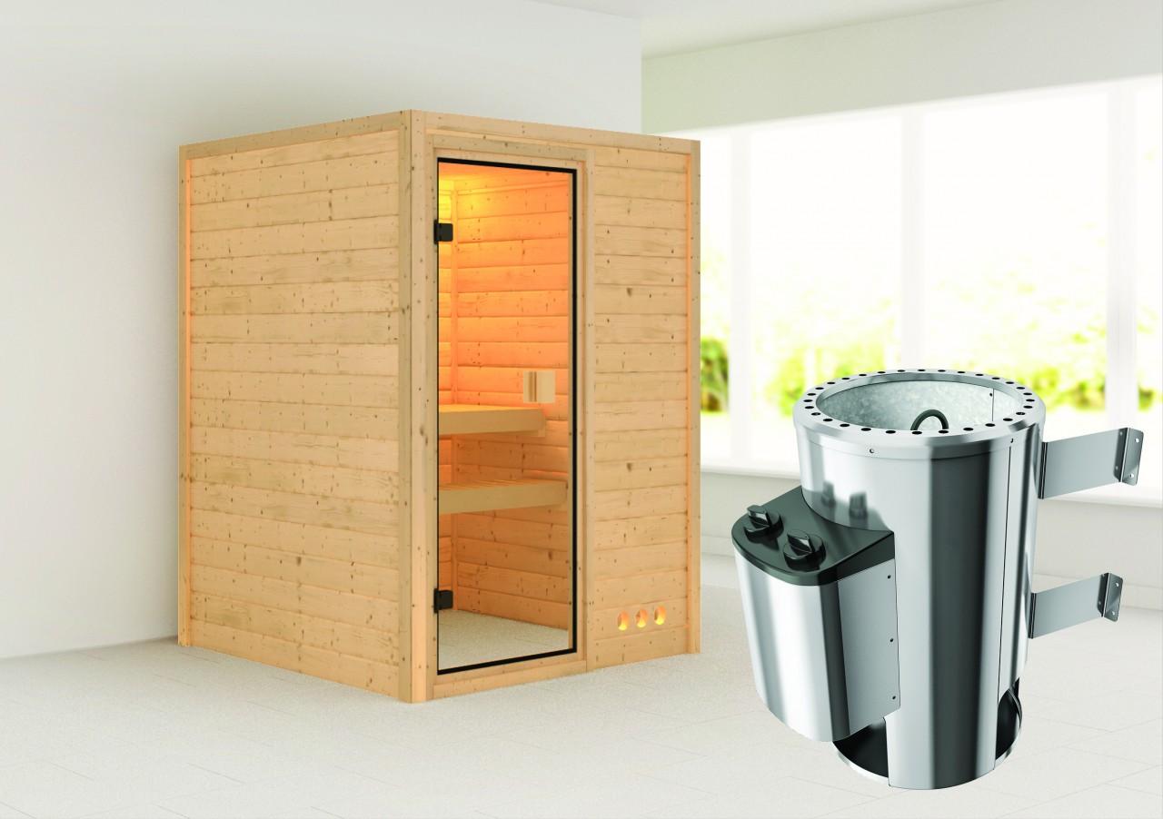 Sauna NADJA 1,46 x 1,46 m - 3.6 kW Ofen integr. Steuerung ohne Dachkranz