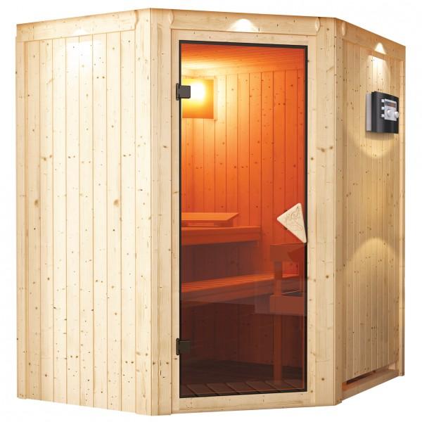 karibu sauna taurin 1 75 x 1 52 m 68 mm mit 9 kw ofen saunakabine elementsauna. Black Bedroom Furniture Sets. Home Design Ideas