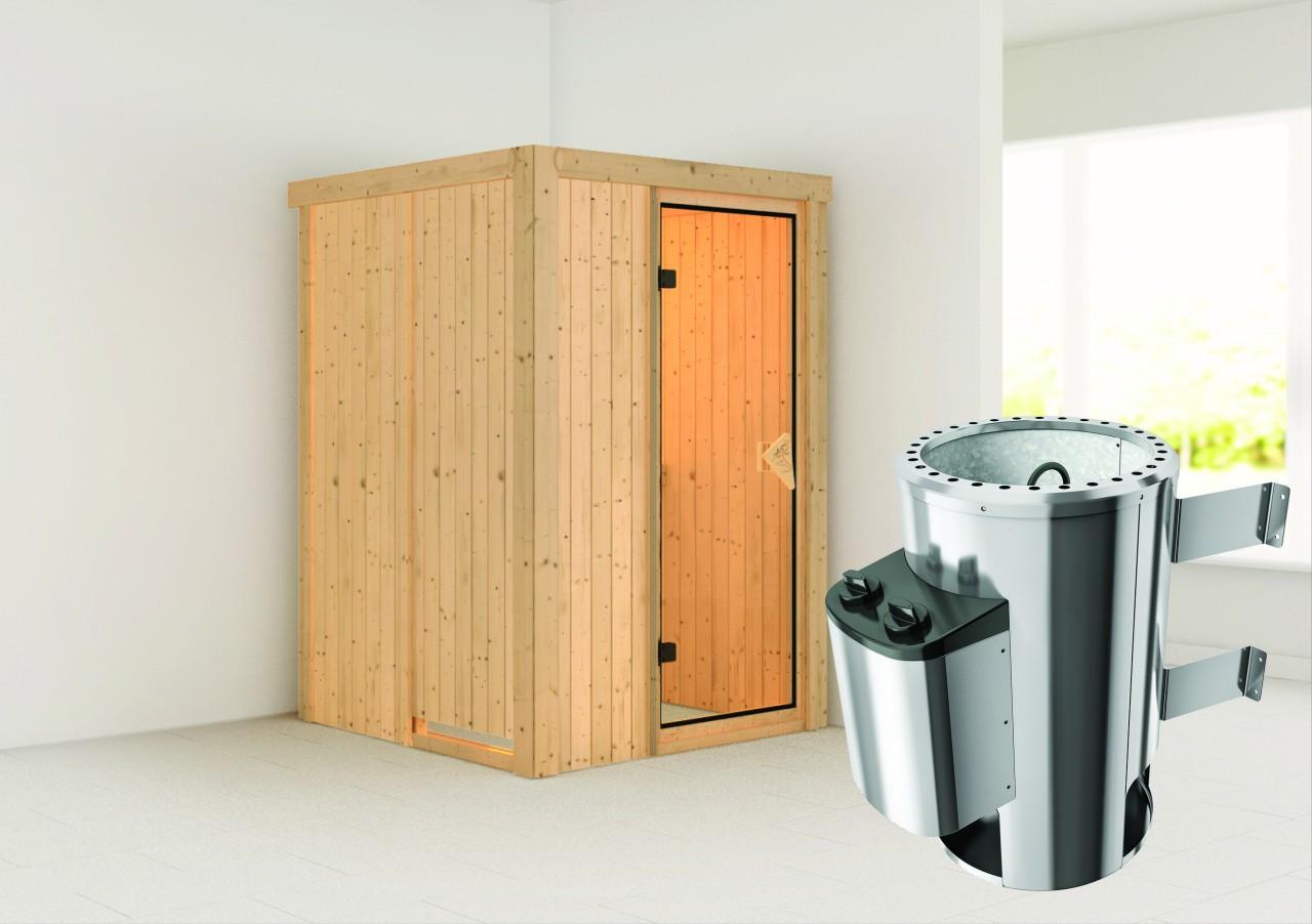Sauna LENJA 1,20 x 2,00 m - 3.6 kW Ofen integr. Steuerung ohne Dachkranz