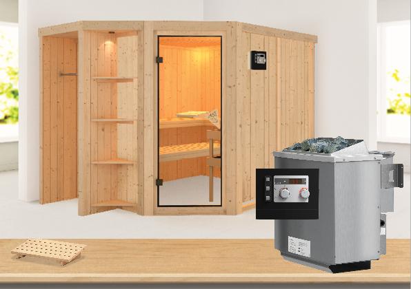 Sauna SJARD 2,74 x 1,96 m 68 mm mit 9 kW Ofen 9.0 kW Bio-Kombiofen ext. Steuerung