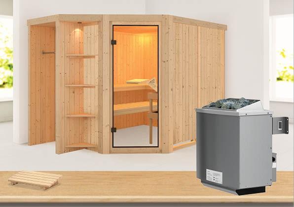Sauna SJARD 2,74 x 1,96 m 68 mm mit 9 kW Ofen 9.0 kW Ofen integr. Steuerung