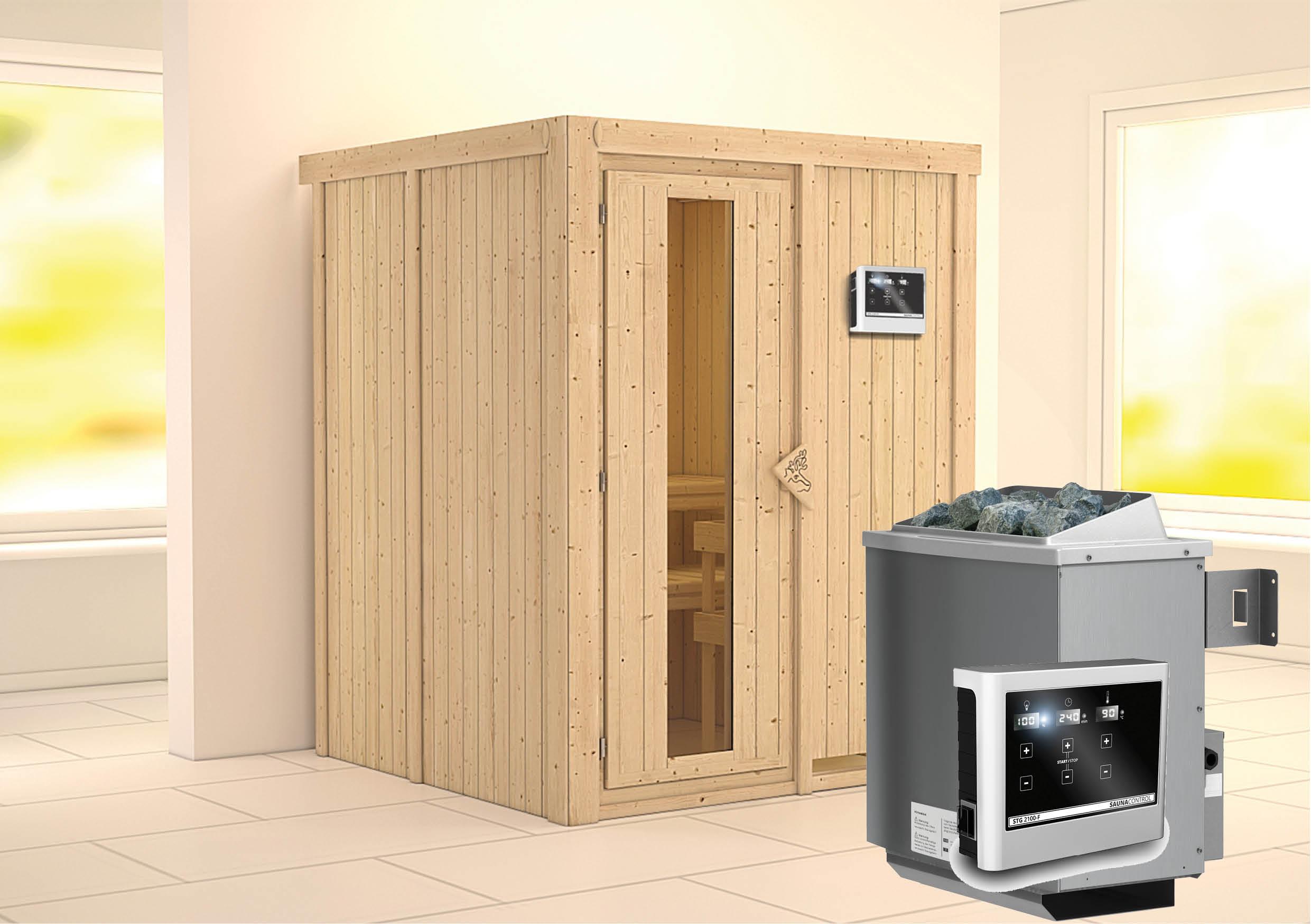 karibu sauna norin 1 51 x 1 51 m 68 mm mit 9 kw ofen saunakabine elementsauna ebay. Black Bedroom Furniture Sets. Home Design Ideas