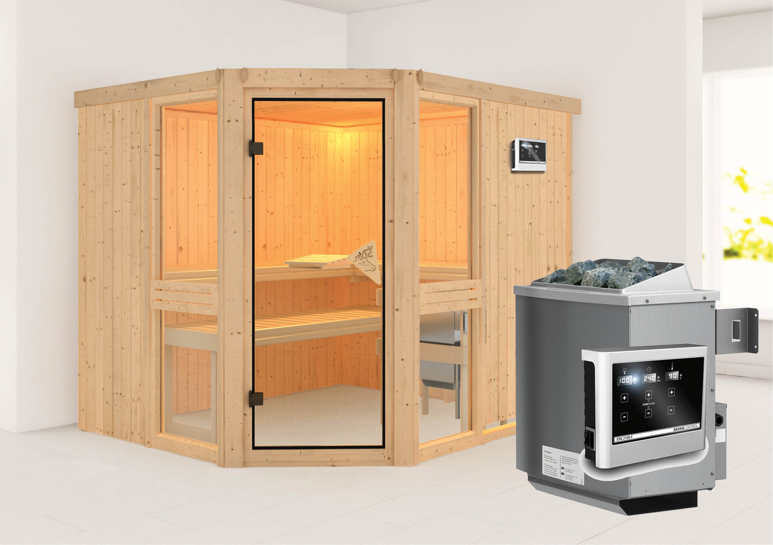 sauna amelia 3 2 31 x 1 96 m 68 mm mit 9 kw ofen saunakabine elementsauna ebay. Black Bedroom Furniture Sets. Home Design Ideas