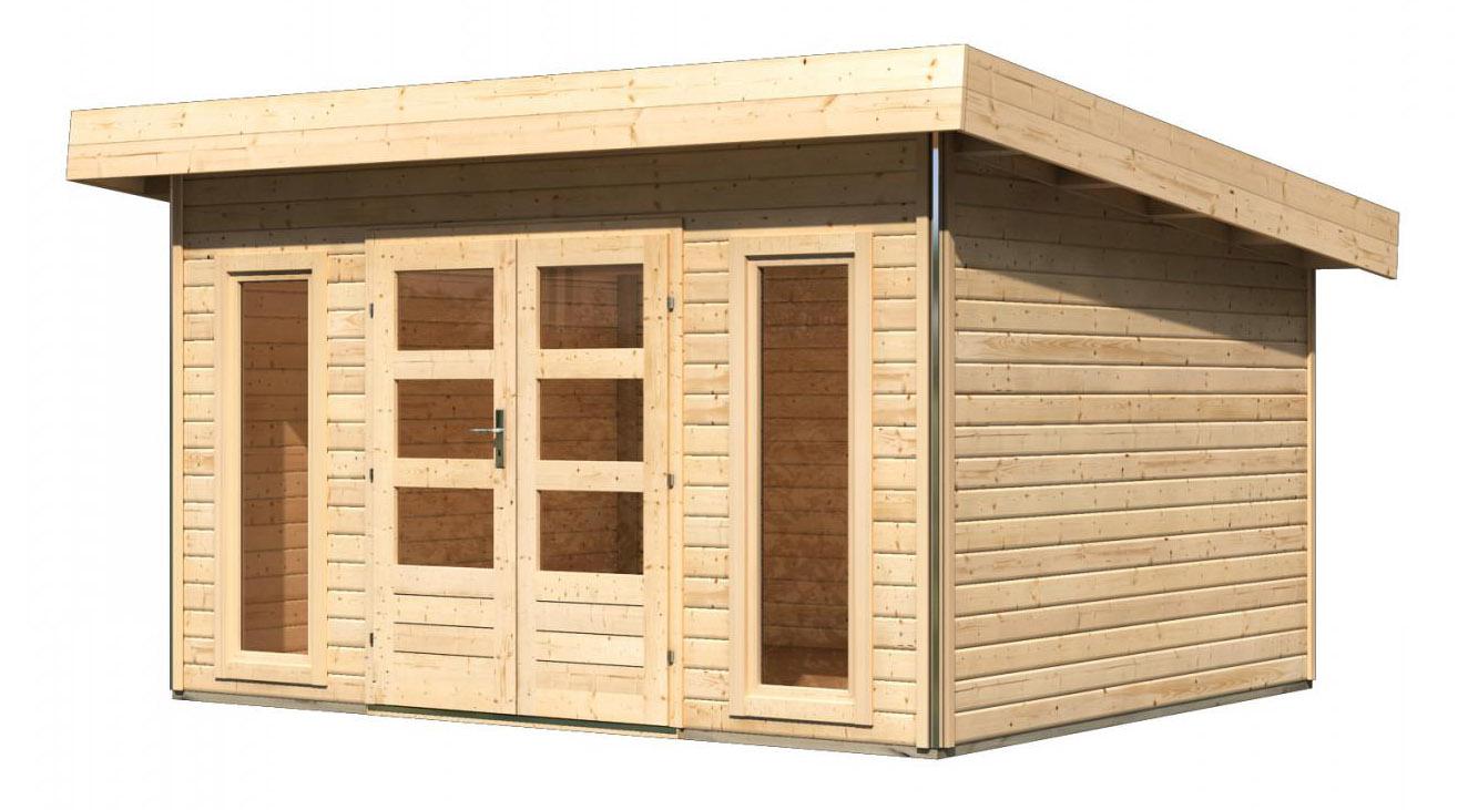karibu gartenhaus 40mm tecklenburg 1 natur 418x357cm ebay. Black Bedroom Furniture Sets. Home Design Ideas
