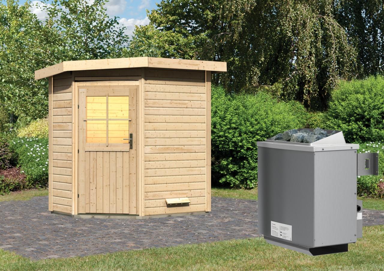 Gartensauna JEKKA 1,96 x 1,46 m 38 mm mit 9 kW Ofen 9.0 kW Ofen integr. Steuerung