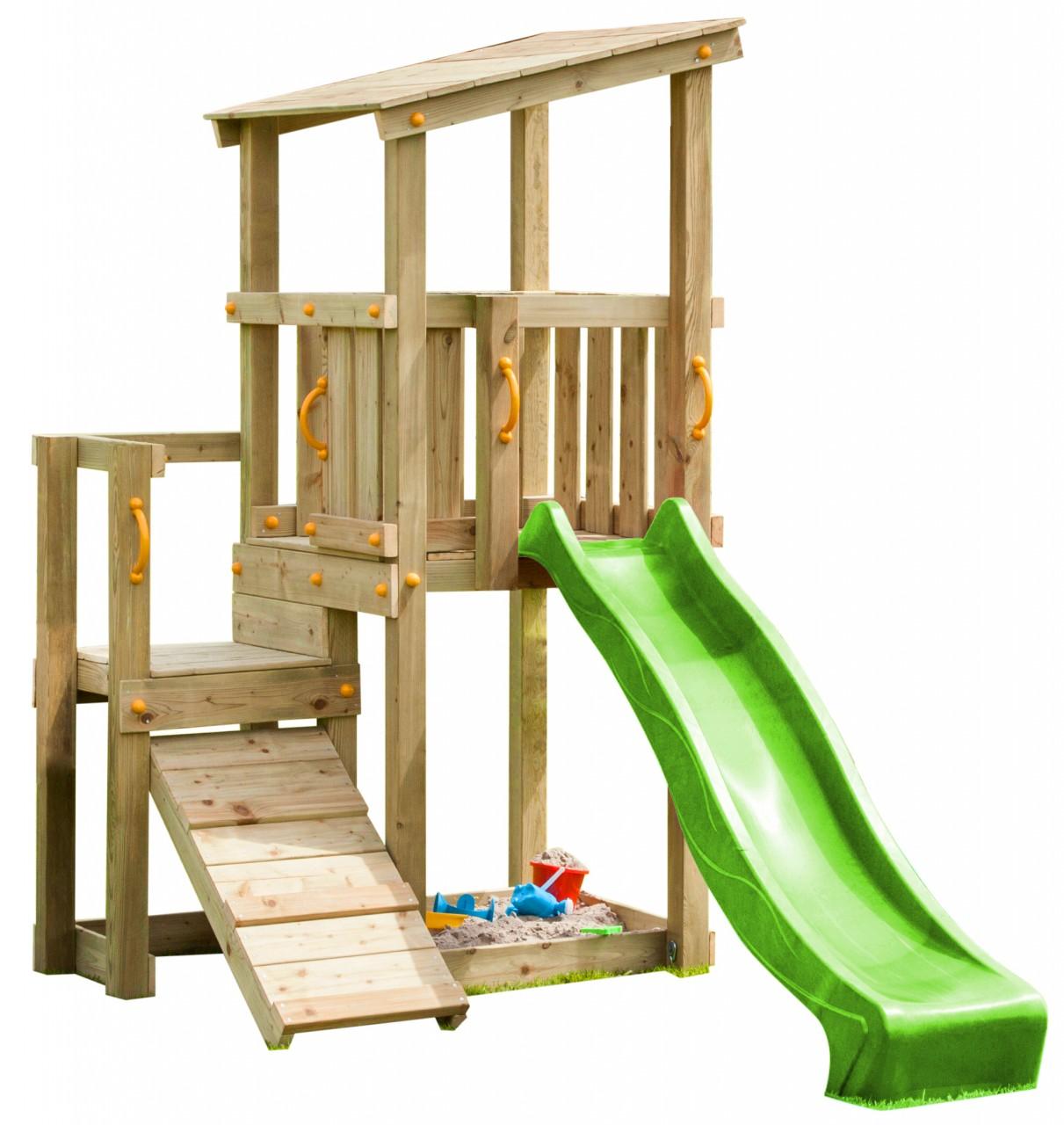 Blue Rabbit  Spielturm CASCADE mit Rutsche 2,30 m + Kletterrampe   DH453