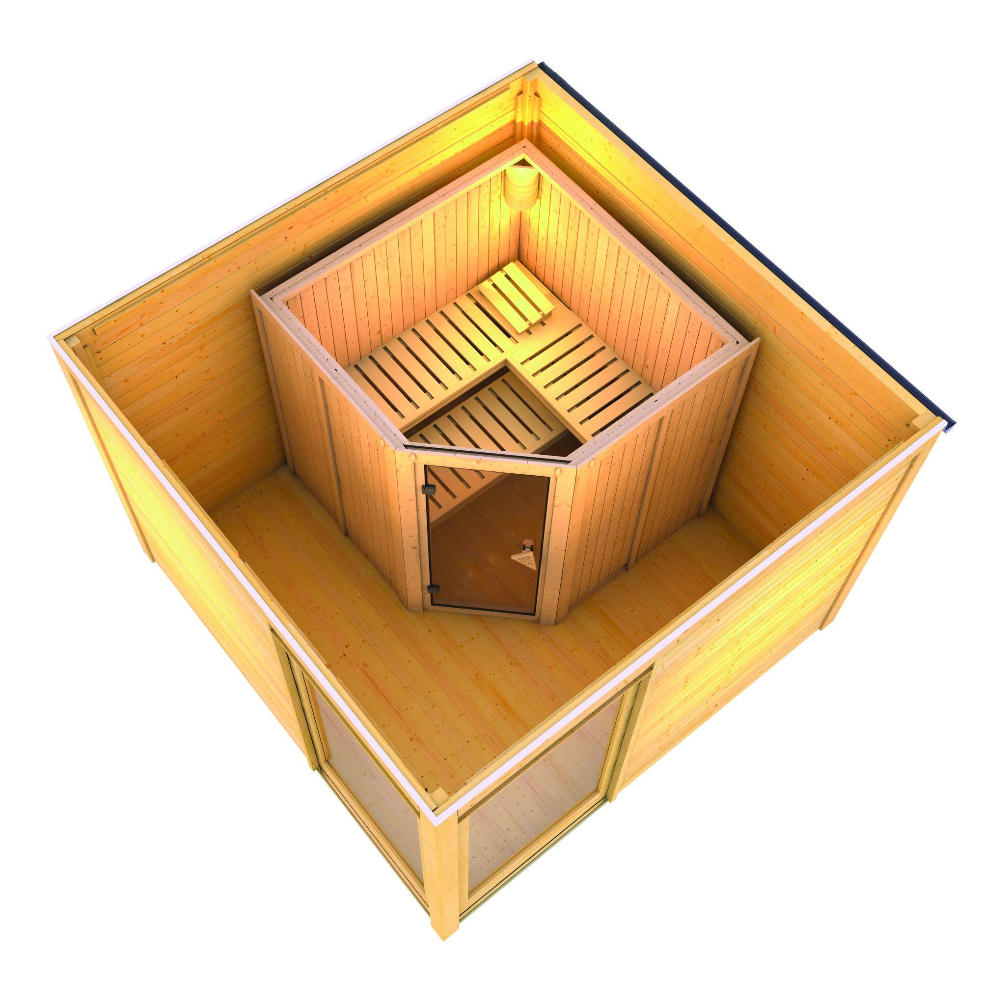 karibu sauna house cubus corner 2 3 20 x m with jarin. Black Bedroom Furniture Sets. Home Design Ideas