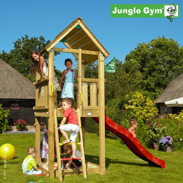 jungle gym spielturm club kletterturm mit rutsche sandkasten spielhaus baumhaus ebay. Black Bedroom Furniture Sets. Home Design Ideas