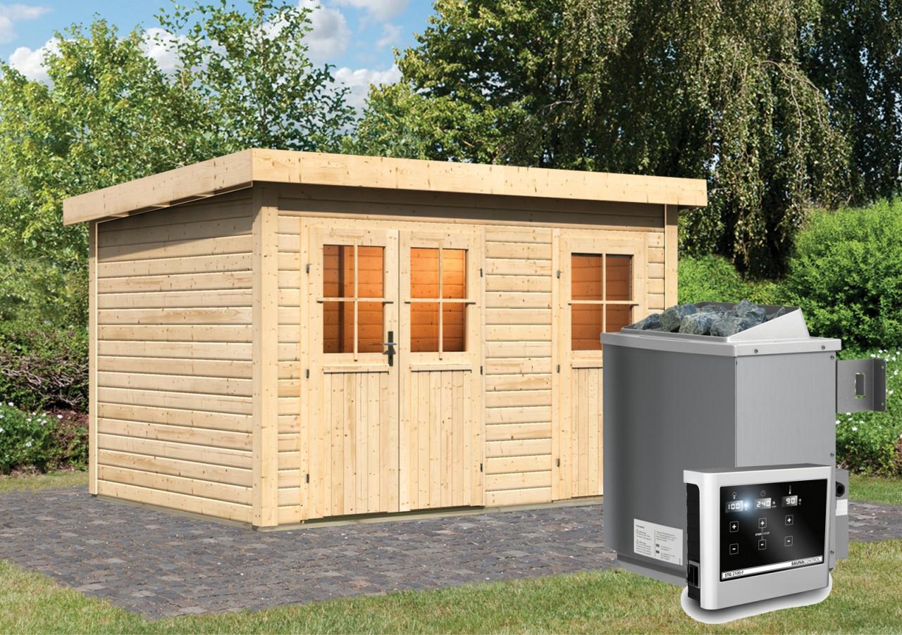 Gartensauna JUUKA 3,66 x 2,46 m 38 mm mit 9 kW Ofen 9.0 kW Ofen ext. Steuerung