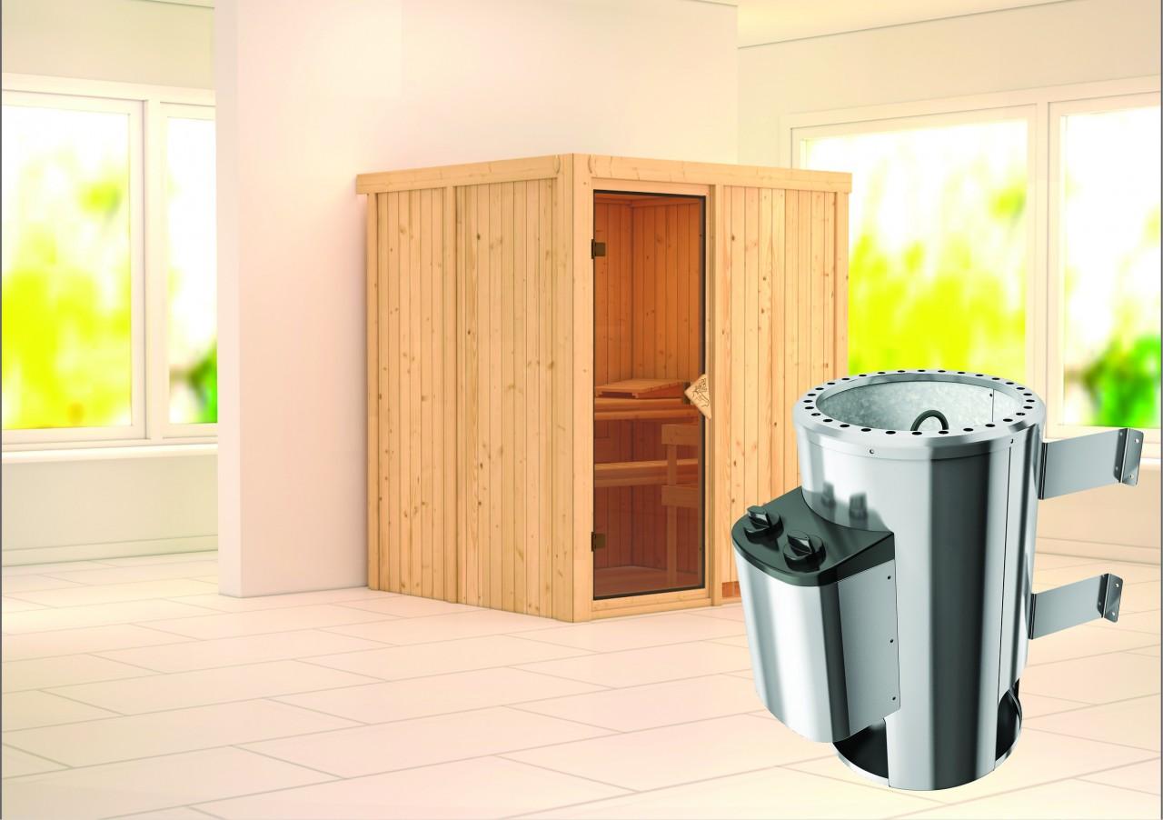Sauna 230 Volt KAJA 1,75 x 1,52 m 68 mm mit 3,6 kW Ofen 3.6 kW Ofen integr. Steuerung