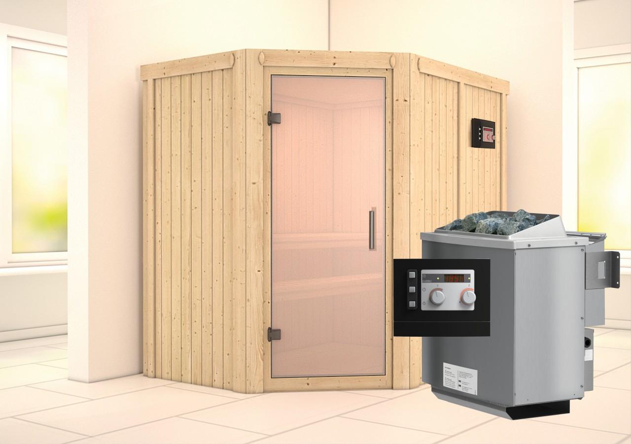 Sauna CARIN 1,52 x 1,96 m 68 mm mit 9 kW Ofen 9.0 kW Bio-Kombiofen ext. Steuerung