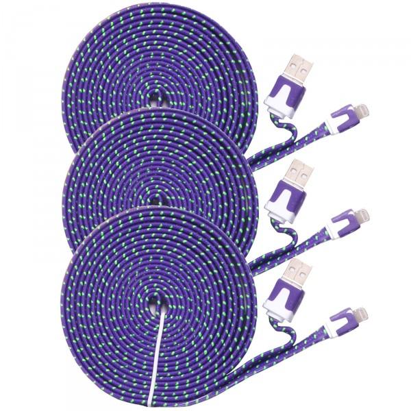 3 x USB Kabel 3,00 m Textil Lightning iPhone 5/6