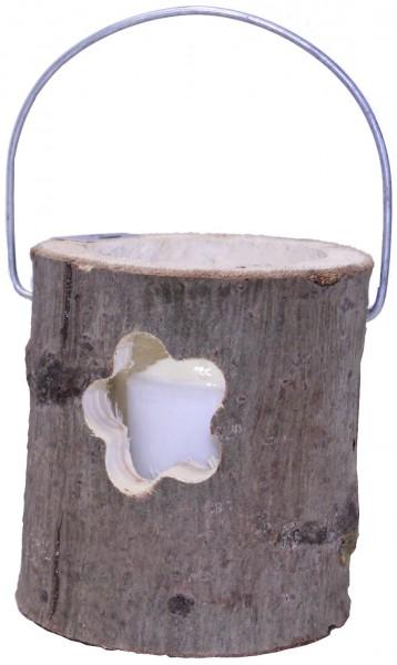 Deko Windlicht Holzstamm Ø 12 cm Glaseinsatz mit Kerze