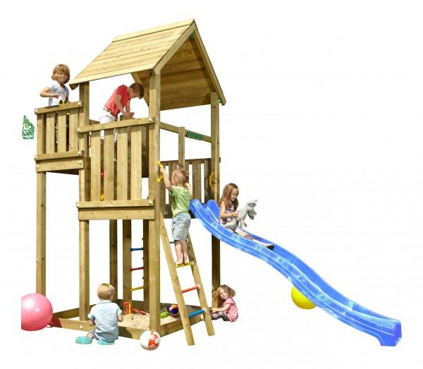 jungle gym spielturm palace kletterturm mit rutsche sandkasten holz spielhaus ebay. Black Bedroom Furniture Sets. Home Design Ideas