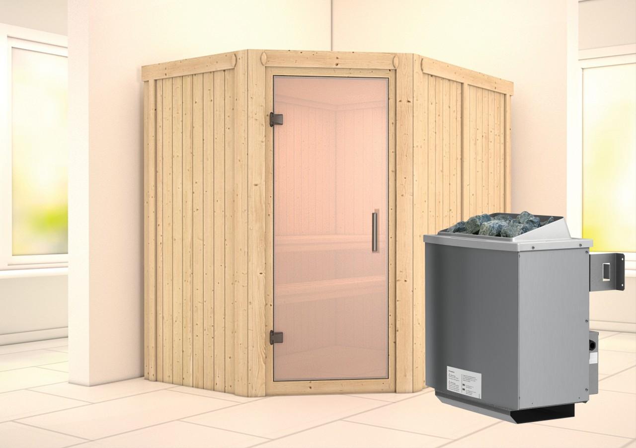 Sauna CARIN 1,52 x 1,96 m 68 mm mit 9 kW Ofen 9.0 kW Ofen integr. Steuerung