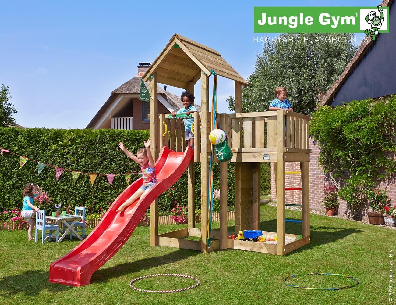 jungle gym spielturm mansion mit rutsche spielhaus. Black Bedroom Furniture Sets. Home Design Ideas