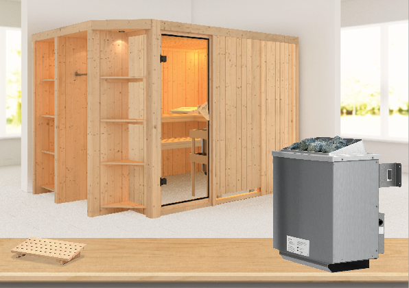Sauna CARA 2,74 x 1,96 m 68 mm mit 9 kW Ofen 9.0 kW Ofen integr. Steuerung