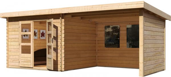 Gartenhaus Flachdachhaus BASTRUP 5 mit Schleppdach 2 m, Seiten- und Rückwand naturbelassen