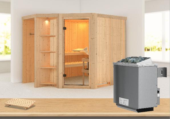 Sauna YARO 2,39 x 1,96 m 68 mm mit 9 kW Ofen 9.0 kW Ofen integr. Steuerung