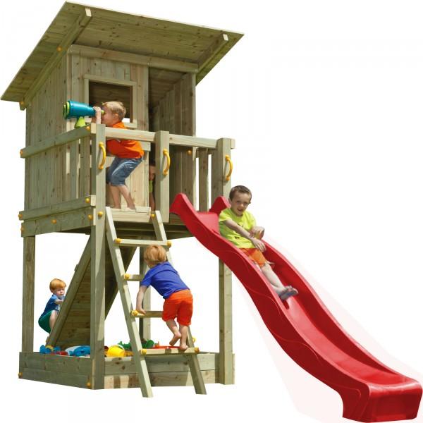 Spielturm BEACH HUT mit Rutsche + Rampe mit Seil