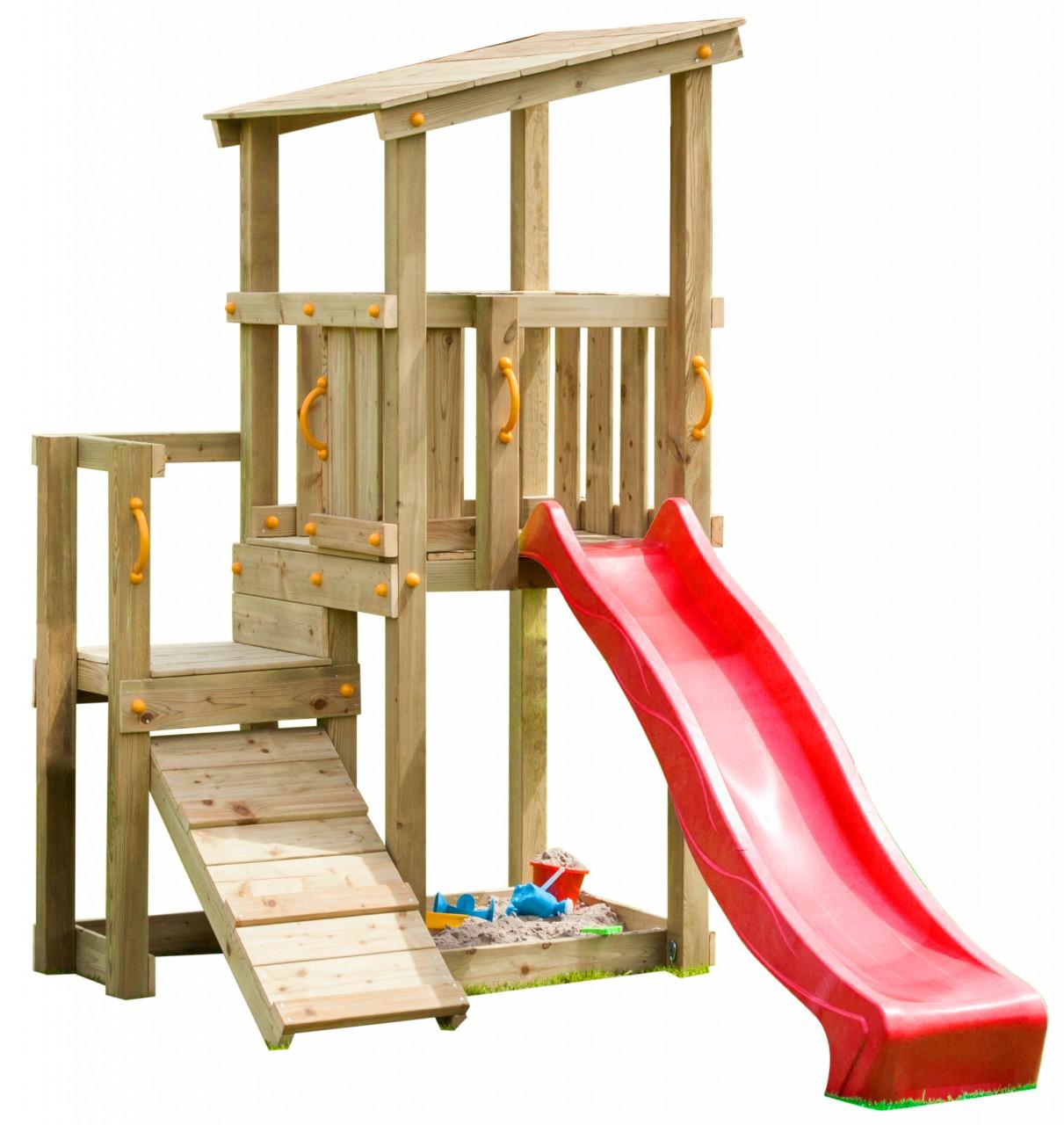 Blue Rabbit  Spielturm CASCADE mit Rutsche 2,30 m + Kletterrampe  Rot DH450