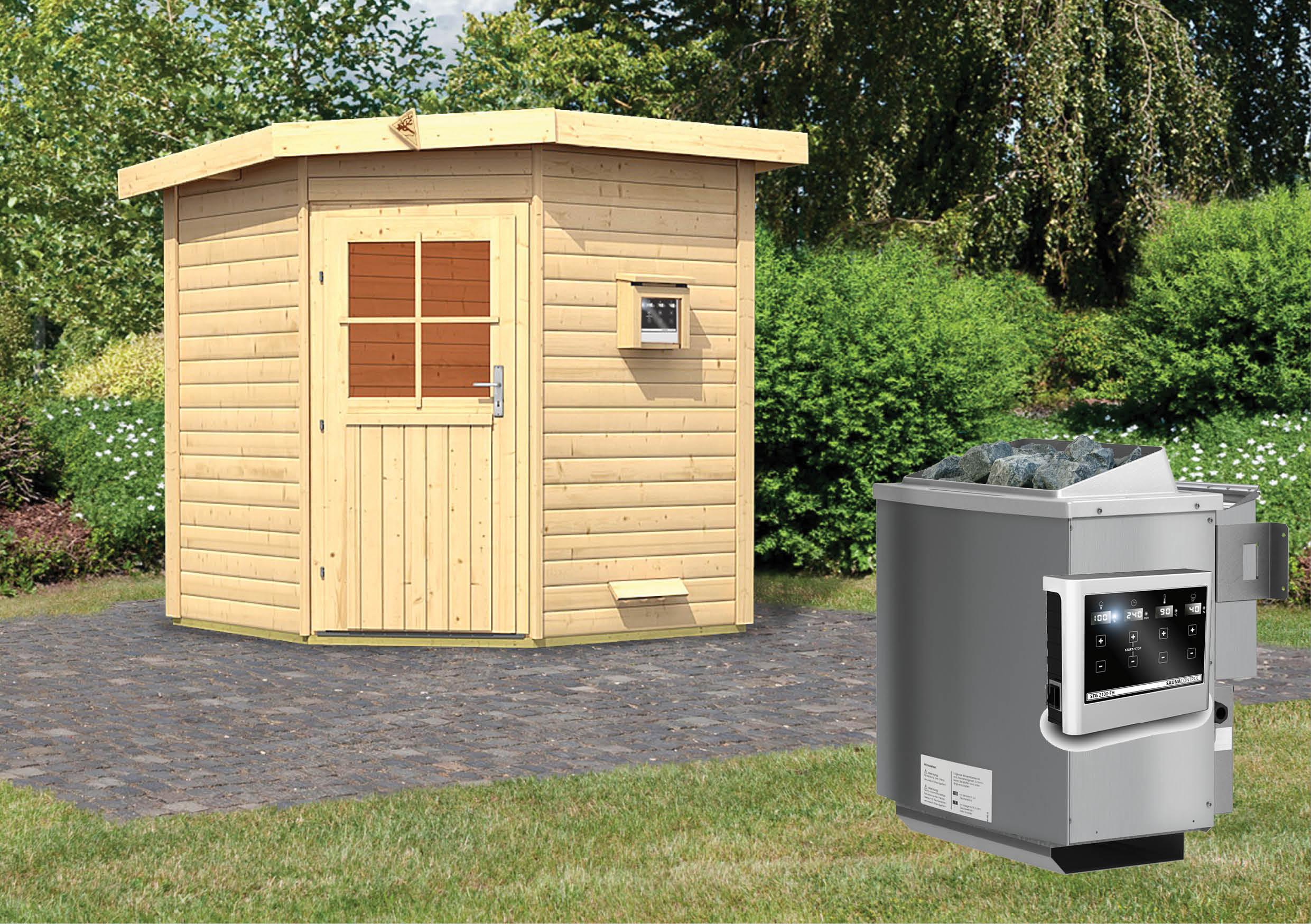 karibu gartensauna pekka 1 96 x 1 96 m 38 mm mit 9 kw ofen saunahaus au ensauna ebay. Black Bedroom Furniture Sets. Home Design Ideas