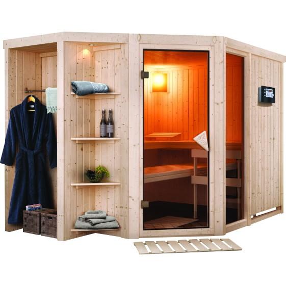 Karibu Sauna Qualitat Sauna Bausatz Mit Ofen Yo94 Hitoiro Gartenh