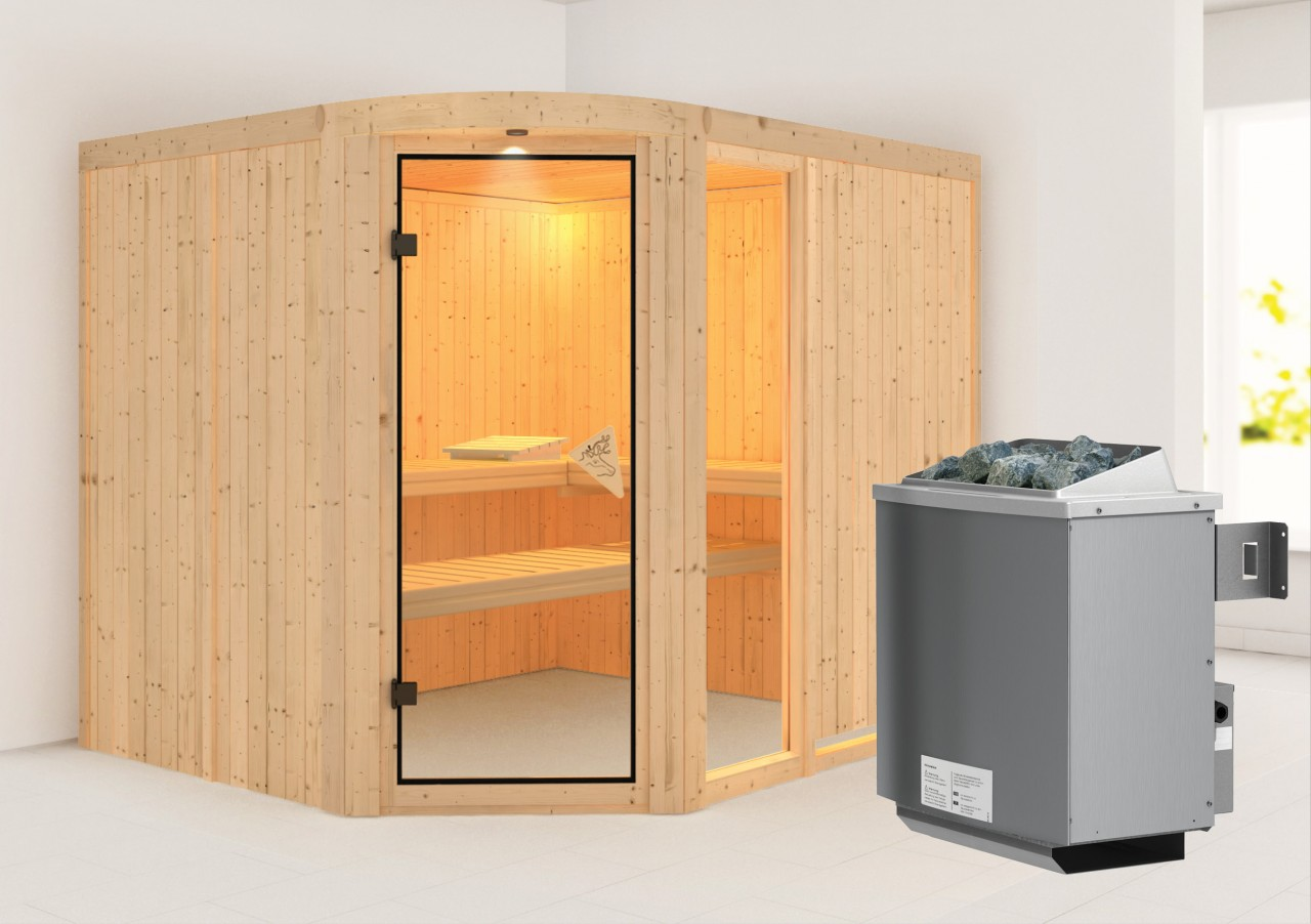 Sauna LAKURA 2,31 x 1,96 m 68 mm mit 9 kW Ofen 9.0 kW Ofen integr. Steuerung