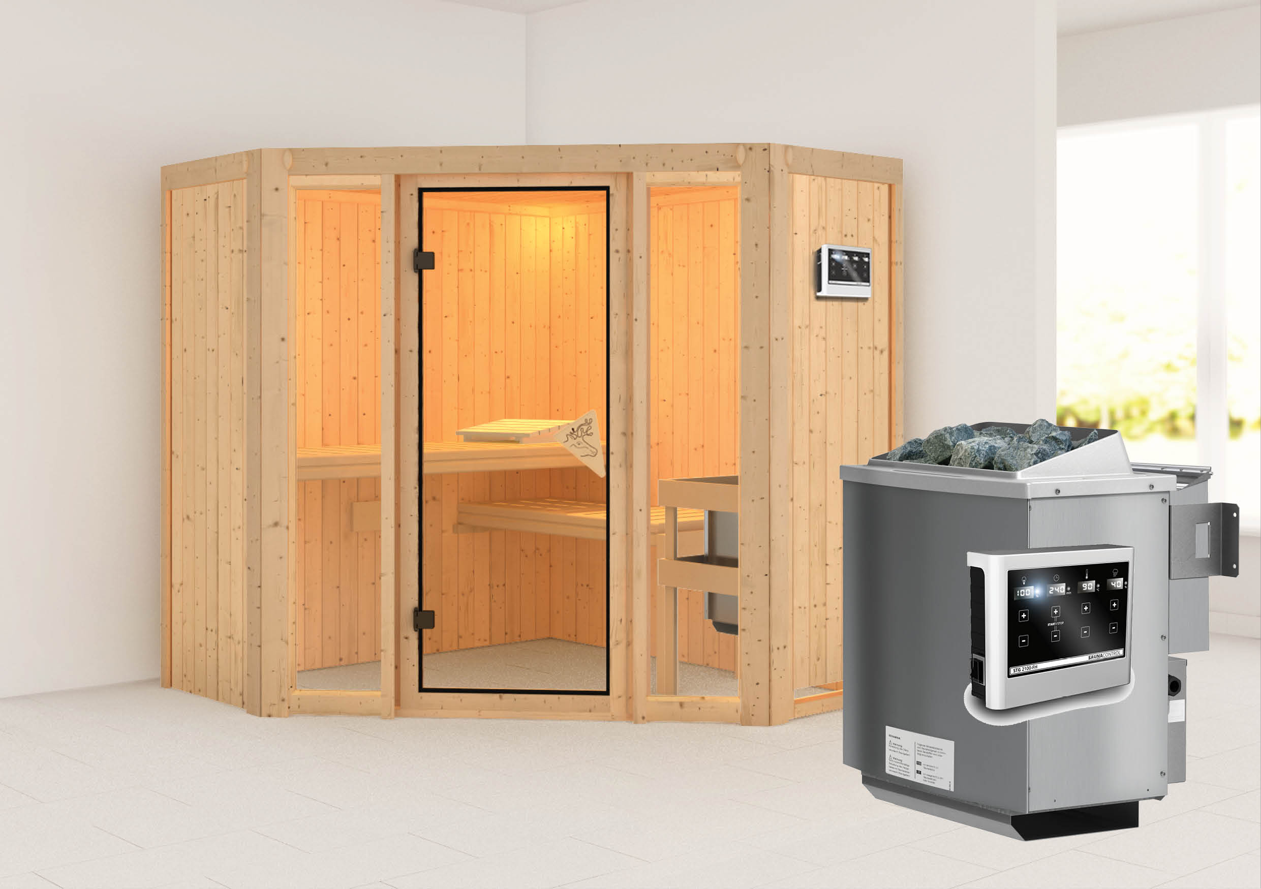 karibu sauna flora 1 1 96 x 1 96 m 68 mm mit 9 kw ofen saunakabine elementsauna ebay. Black Bedroom Furniture Sets. Home Design Ideas