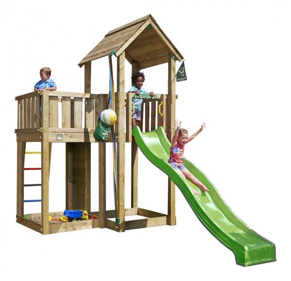 jungle gym spielturm mansion mit rutsche spielhaus kletterturm holzturm ebay. Black Bedroom Furniture Sets. Home Design Ideas