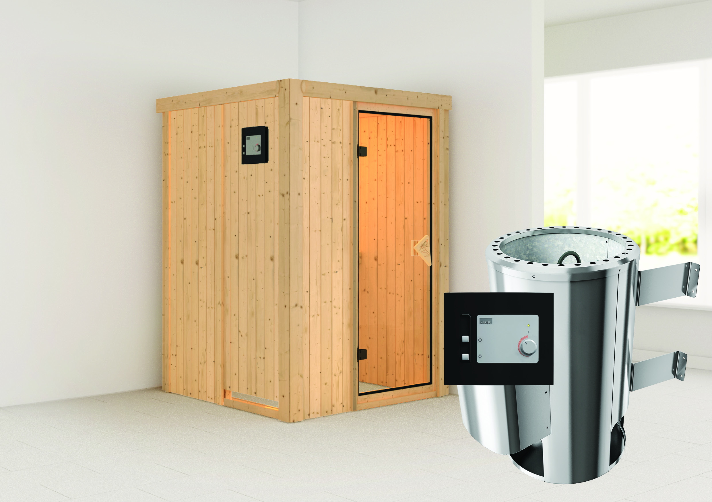 karibu sauna 230 volt lenja 1 35 x 1 35 m 68 mm mit 3 6 kw ofen energiesparsauna ebay. Black Bedroom Furniture Sets. Home Design Ideas