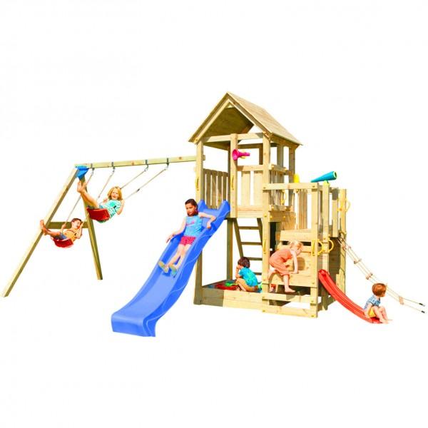 Spielturm PENTHOUSE mit Rutsche 2,90 m + Babyrutsche + Kletternetz + Doppelschaukel