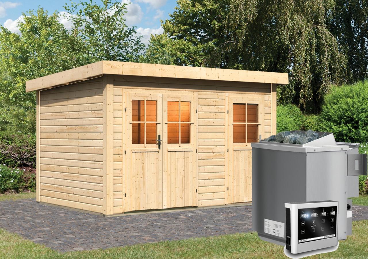 Gartensauna LUUKA 3,66 x 2,46 m 38 mm mit 9 kW Ofen 9.0 kW Bio-Kombiofen ext. Steuerung