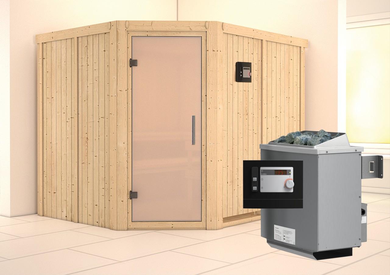 Sauna MALIN 2,31 x 1,96 m 68 mm mit 9 kW Ofen 9.0 kW Ofen ext. Steuerung