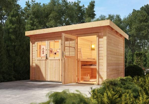 karibu gartensauna luuka 3 66 x 2 46 m 38 mm mit 9 kw ofen saunahaus au ensauna ebay. Black Bedroom Furniture Sets. Home Design Ideas