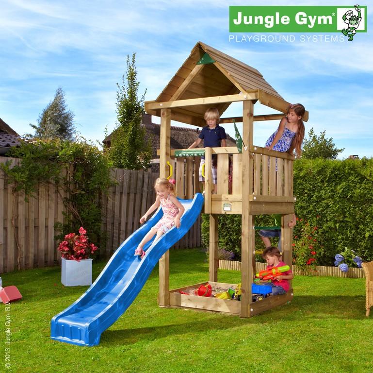 Spielturm HOUSE mit Rutsche - Blau