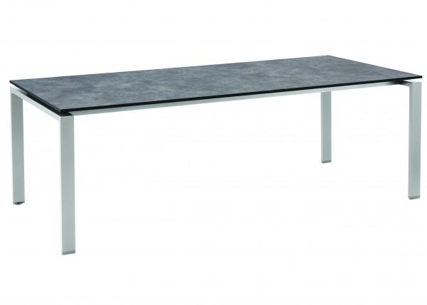 Gartentisch HPL DINING Tisch 220x100 cm silber/anthrazit